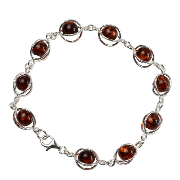 """Sterling Silver and Baltic Honey Amber Bracelet """"Sun"""""""