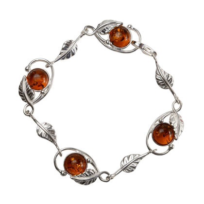Sterling Silver and Baltic Honey Amber Leaf Bracelet
