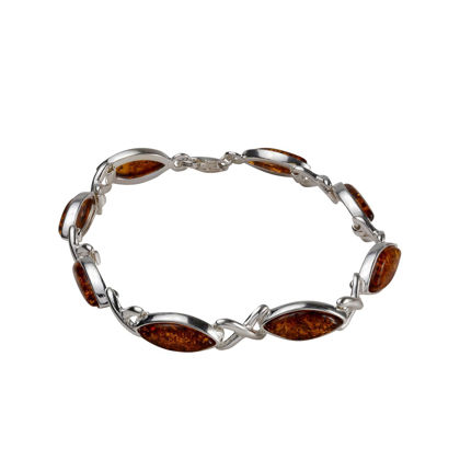 "Sterling Silver and Baltic Honey Amber  Bracelet "" Iryssa"""