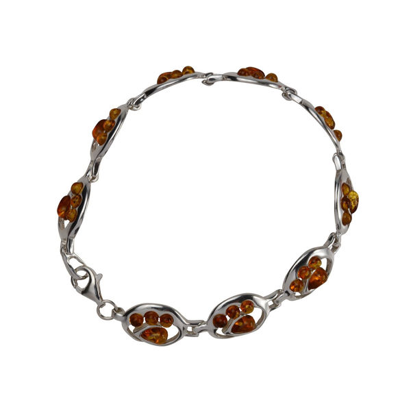 "Sterling Silver and Baltic Honey Amber Bracelet "" Carlina"""