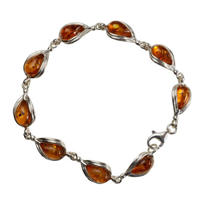 Sterling Silver and Baltic Honey Pear-Shaped Amber Bracelet