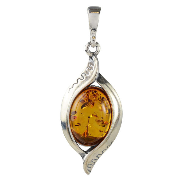 "Sterling Silver and Baltic  Honey  Amber Pendant ""Freya"""