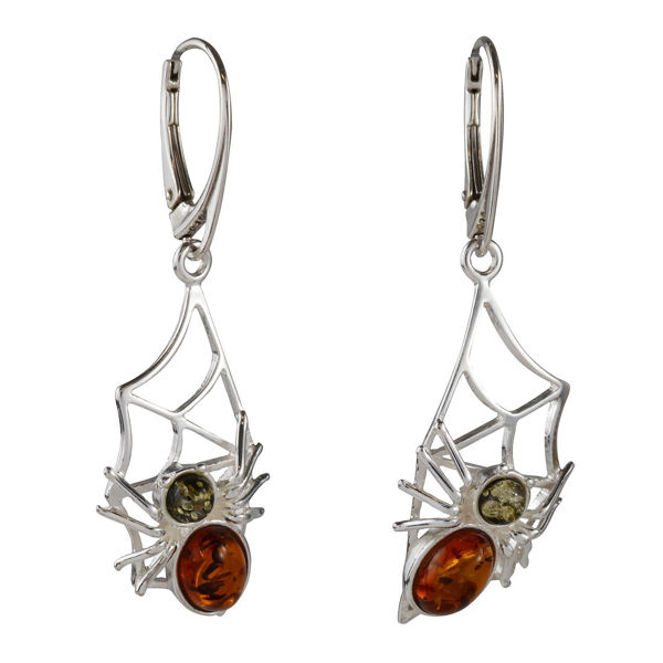 "Sterling Silver and Baltic Honey and Green Amber French Leverback Earrings ""Spider On The Web"""