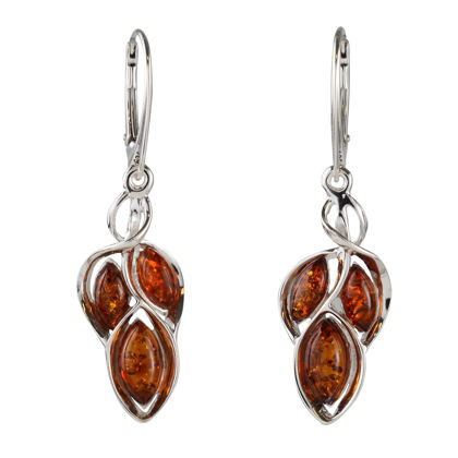 "Sterling Silver and Baltic Honey Amber French Leverback Earrings ""April"""