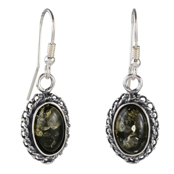 "Sterling Silver and Baltic Green Amber Fish Hook Earrings ""Jade"""