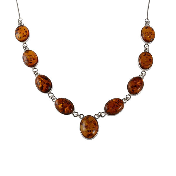 "Sterling Silver and Baltic Honey Amber Necklace ""Ariela"""
