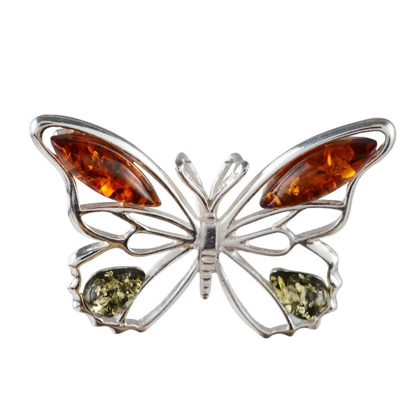 Sterling Silver and Baltic Honey and Green Amber Butterfly Pendant