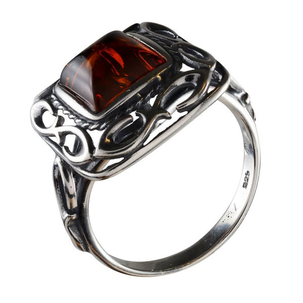 "Sterling Silver and Baltic Honey  Amber Square Ring ""Ruth"""