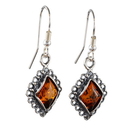 "Sterling Silver and Baltic Honey Amber Earrings ""Meryl"""