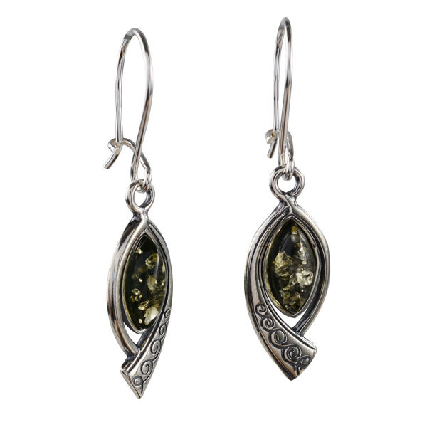 "Sterling Silver Baltic Green Amber Earrings ""Emma"""