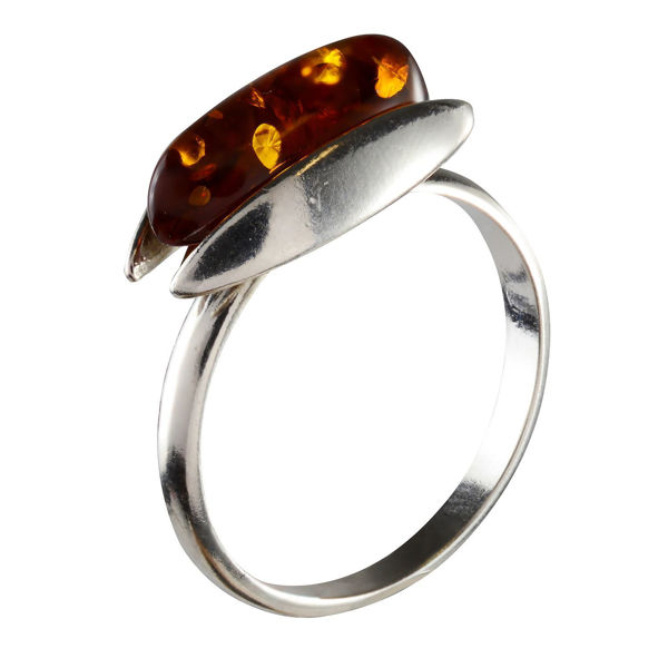 "Sterling Silver and Baltic Honey Amber Ring ""Claire"""