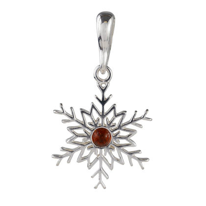 Sterling Silver and Baltic Amber Snowflake Pendant (Small)