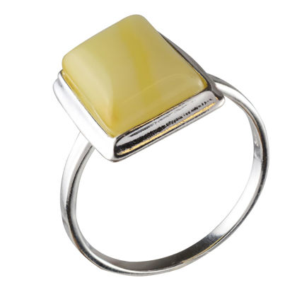 Sterling Silver Baltic Butterscotch Rectangle Amber Ring; size 11.5