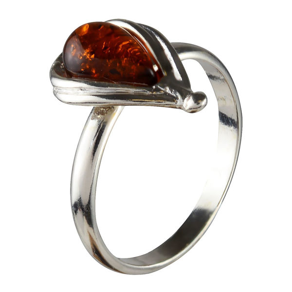 Sterling Silver and Baltic Honey Amber Pear Shaped Ring
