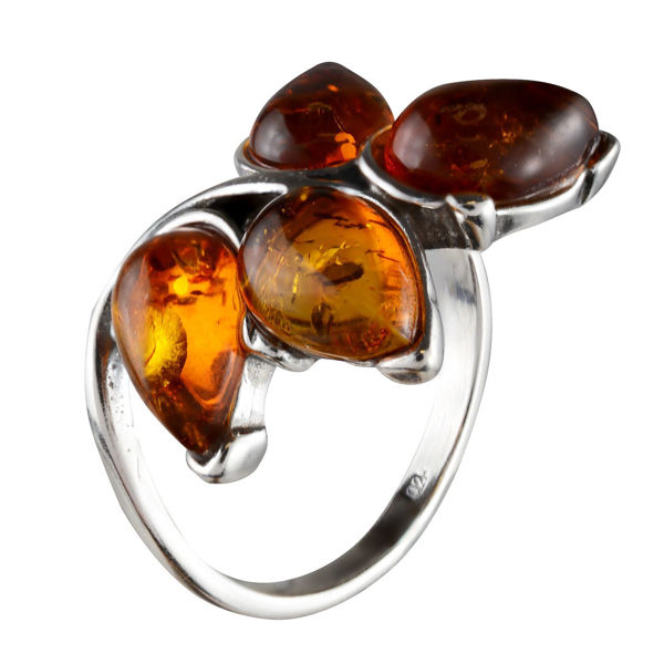 "Sterling Silver and Baltic Honey Amber Ring ""Astrid"""