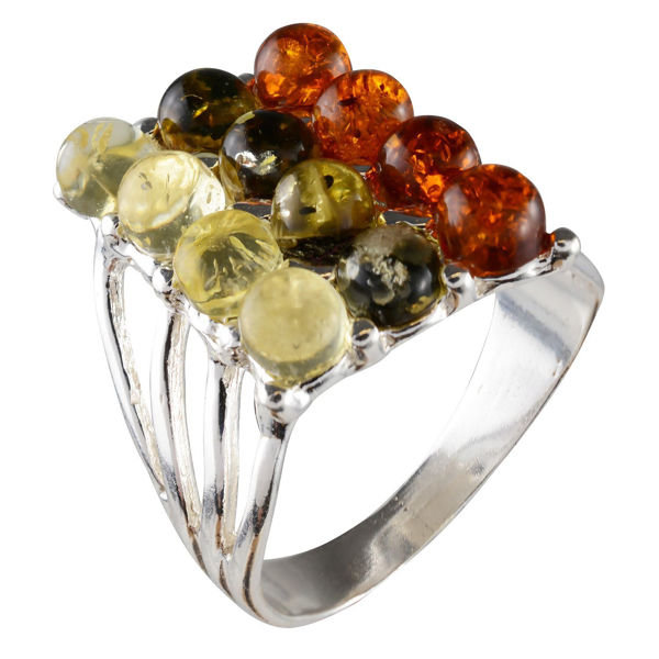"Sterling Silver and Baltic Multicolored Amber Ring ""Klaudia"""