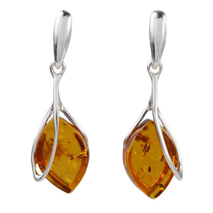 "Sterling Silver and Baltic Honey Amber Earrings ""Nadia"""
