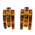 """Sterling Silver and Baltic Multicolored Stud Amber Earrings """"Melania"""""""