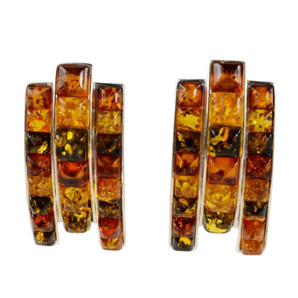 "Sterling Silver and Baltic Multicolored Stud Amber Earrings ""Melania"""