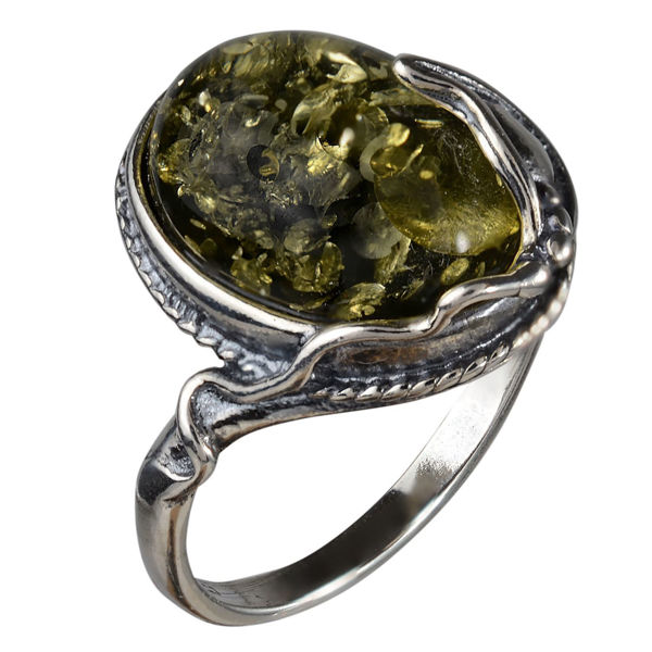 "Sterling Silver and Baltic Green Amber Ring ""Ada"""