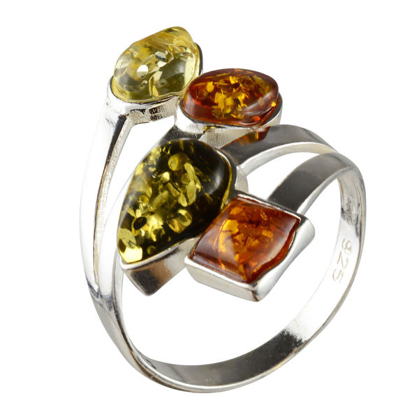 "Sterling Silver and Baltic Amber Multicolored Ring ""Marcia"""