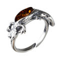 Sterling Silver and Baltic Honey Amber Adjustable Lizard Ring