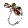 Sterling Silver and Baltic Green and Honey Amber Adjustable Dragonfly Ring