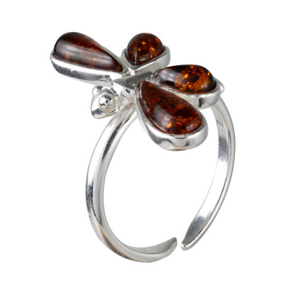 Sterling Silver and Baltic Honey Amber Adjustable Dragonfly Ring