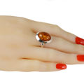 "Sterling Silver and Baltic Honey Amber Oval Ring ""Aine"""