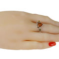 """Sterling Silver and Baltic Green and Honey Amber Ring """"Loving Heart"""""""