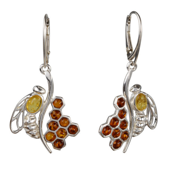 Sterling Silver and Baltic Amber French Leverback Honeycomb Bee Earrings