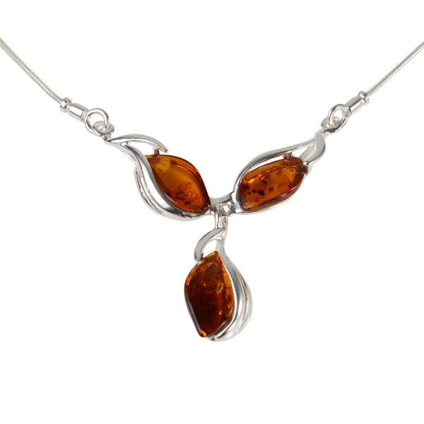"Sterling Silver and Baltic Honey Amber Necklace  ""Elsie"""