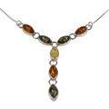 Sterling Silver and Baltic Multicolored Amber Necklace