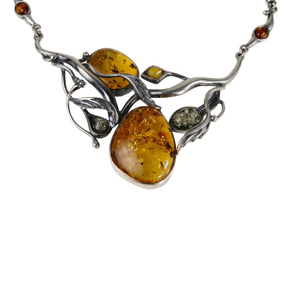 "Sterling Silver and Baltic Multicolored Amber Necklace ""Aifee"""