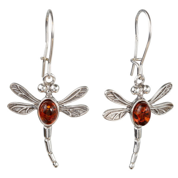 Sterling Silver and Baltic Honey Amber Kidney Hook  Dragonfly Earrings