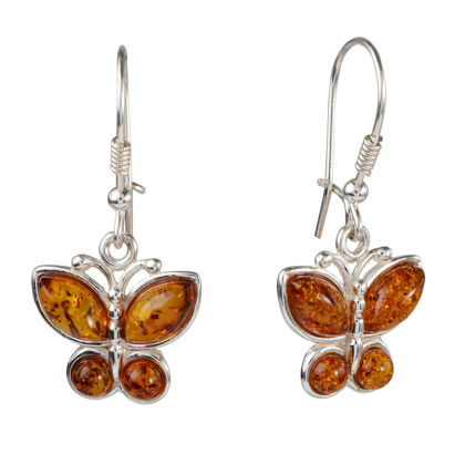 Sterling Silver and Baltic Honey Amber Kidney Hook Butterflies Earrings