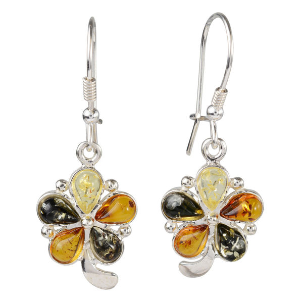 "Sterling Silver Baltic Multicolored Amber Kidney Hook Earrings ""Bindi"""