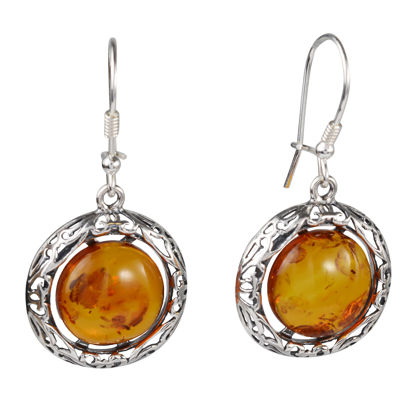 "Sterling Silver and Baltic Honey Amber Kidney Hook Earrings ""Isadora"""