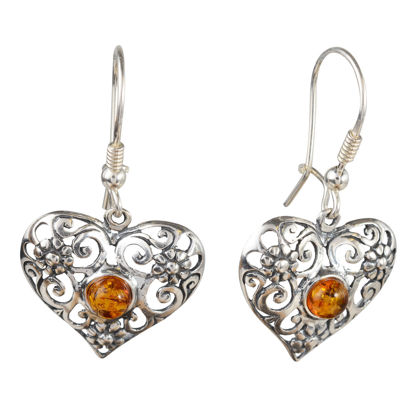 Sterling Silver Lace and Baltic Honey Amber Kidney Hook  Heart Earrings