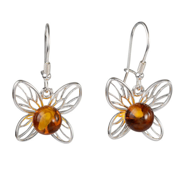 Sterling Silver and Baltic Honey Amber Kidney Hook  Earrings Lady Butterfly