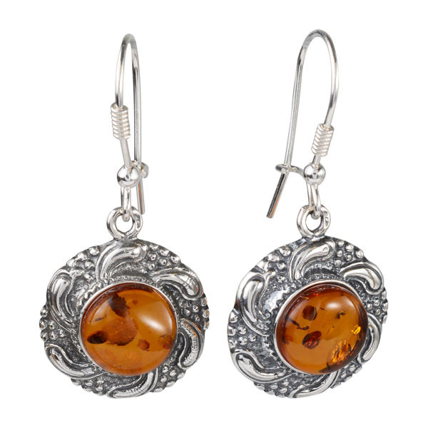 "Sterling Silver and Baltic Honey Amber Kidney Hook Earrings ""Inga"""