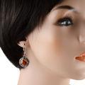 "Sterling Silver and Baltic Honey Amber Kidney Hook Earrings ""Inga"""