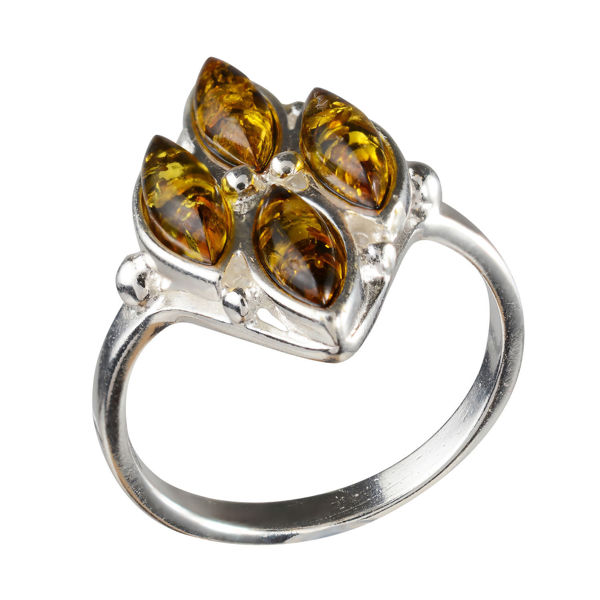 "Sterling Silver and Baltic Green Amber Ring ""Olivia"""