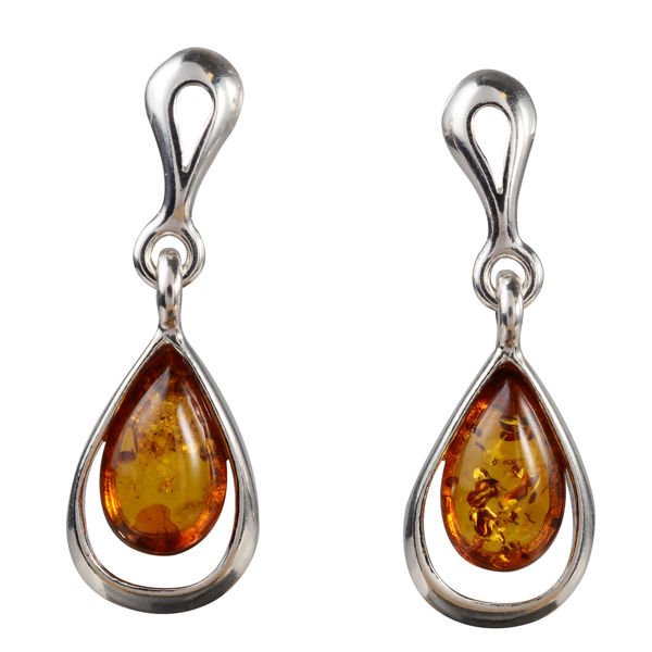 "Sterling Silver and Baltic Honey Amber Earrings ""Julia"""