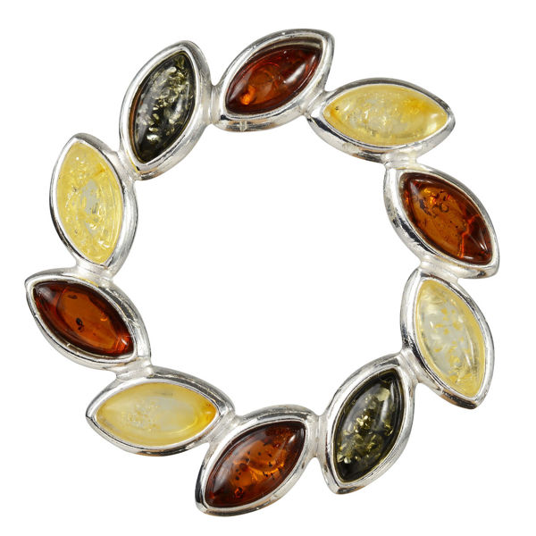 "Sterling Silver and Baltic Multicolored Amber Brooch ""Carrie"""