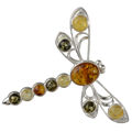 Sterling Silver and Baltic Amber Dragonfly Brooch