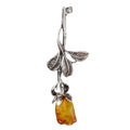 "Sterling Silver and Baltic Amber Brooch ""Rose"""
