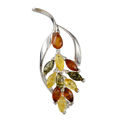 "Sterling Silver and Baltic Amber Brooch ""Dahlia"""