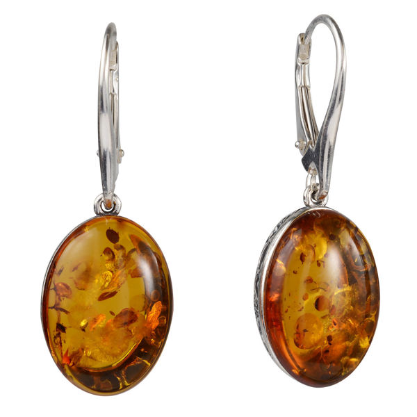 """Sterling Silver and Baltic Amber French Leverback  Honey Oval Earrings """"Lois"""""""