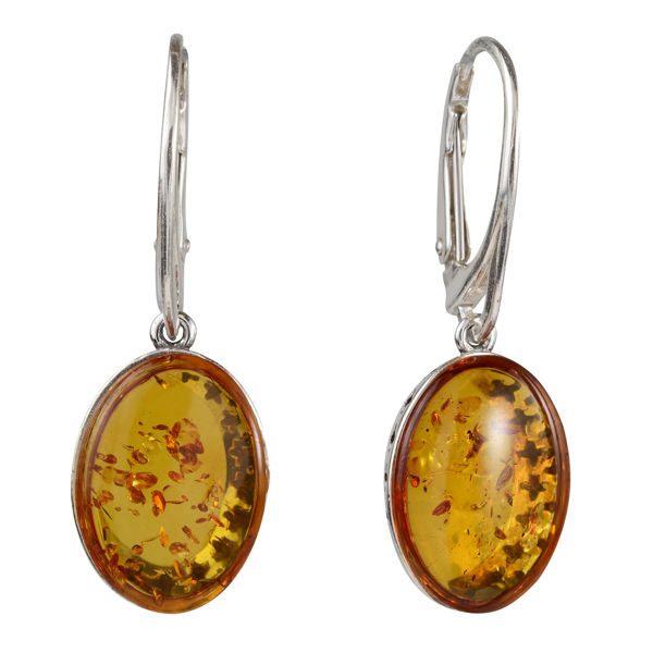 "Sterling Silver and Baltic Amber French Leverback  Honey Amber Oval Earrings ""Alaina"""